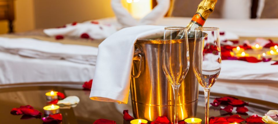 champagne bucket with two flutes